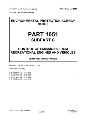 Control of Emissions from Recreational Engines and Vehicles - Certifying Engine Families.