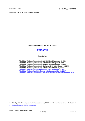 Motor Vehicles Act 1988 (Extracts).