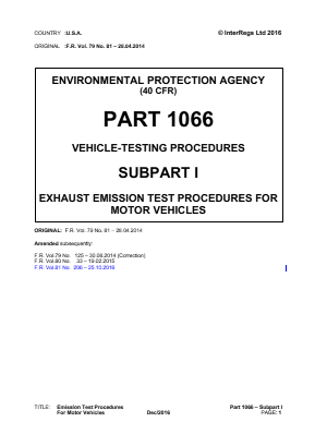 Exhaust Emission Test Procedures for Motor Vehicles.