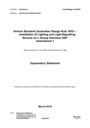Installation of Lighting and Light-Signalling Devices on L-group Vehicles.