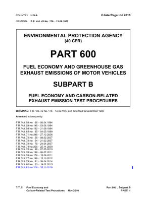 Fuel Economy and Carbon-related Test Procedures.