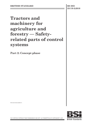 Tractors and Machinery - Control System Safety - Part 2 : Concept Phase.