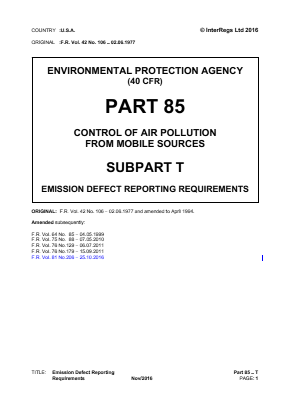 Control of Air Pollution from Mobile Sources - Emission Defect Reporting Requirements.