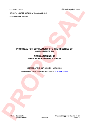 Indirect Vision Devices. Proposed Supplement 3 to the 04 Series.