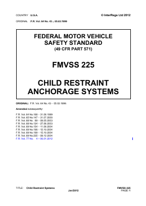 Child Restraint Anchorage Systems.