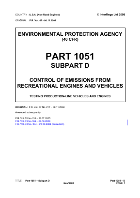 Control of Emissions from Recreational Engines and Vehicles - Testing Production-line Vehicles and Engines.