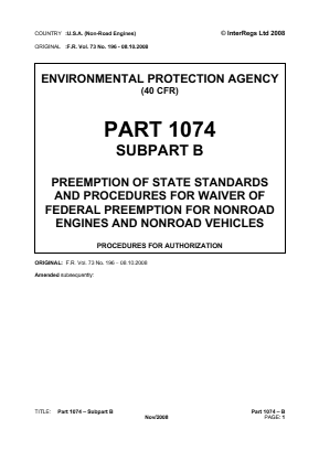 Preemption of State Standards and Procedures for Waiver of Federal Preemption for Non-road Engines and Non-road Vehicles - Procedures for Authorization.