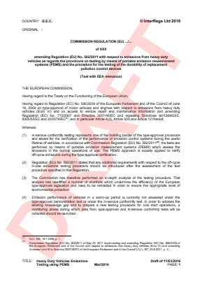 Emissions - Heavy Duty Vehicles (Amending Regulation (EU) No. 582/2011) - Draft.