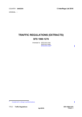 Traffic Regulations (Extracts).