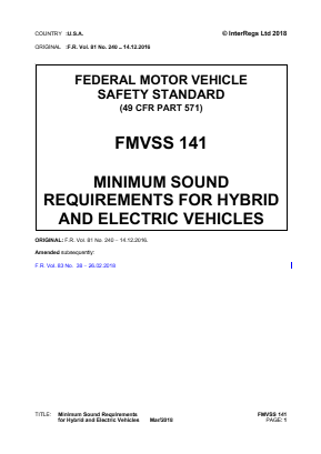 Minimum Sound Requirements for Hybrid and Electric Vehicles.