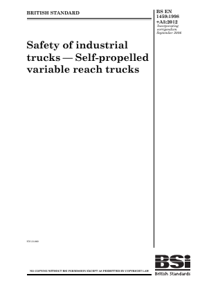 Industrial Trucks - Safety - Variable Reach Trucks.