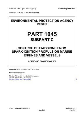 Control of Emissions from Spark-ignition Propulsion Marine Engines and Vessels - Certifying Engine Families.