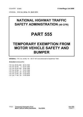 Temporary Exemptions from Vehicle Safety and Bumper Standards.