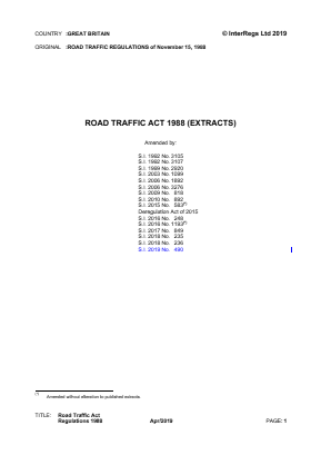 Road Traffic Act 1988 (Extracts).