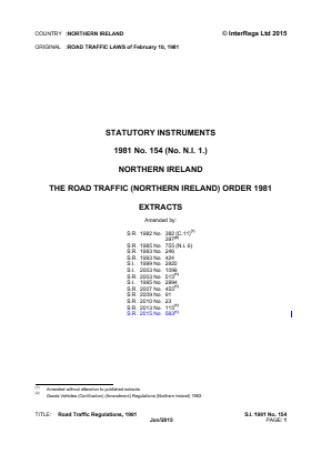 Road Traffic (Northern Ireland) Order 1981 (Extracts).