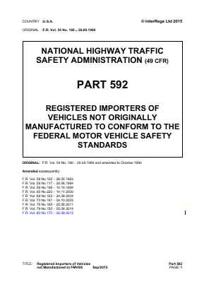 Registered Vehicle Importers of Vehicles not to Federal Safety Standards.