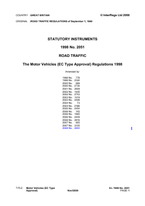 Motor Vehicles (EC Type Approval) Regulations 1998.