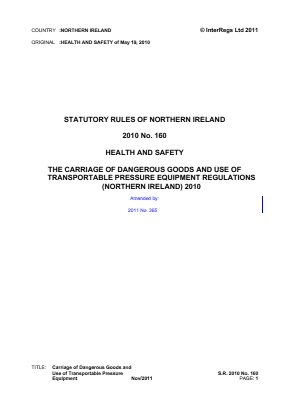 Carriage of Dangerous Goods and Use of Transportable Pressure Equipment Regulations (Northern Ireland) 2010.