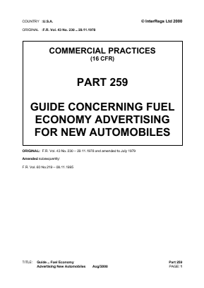 Fuel Economy Advertising Guide for New Vehicles.