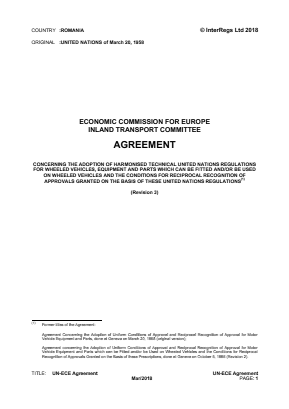 United Nations Economic Commission for Europe Agreement on Technical Requirements for Road Vehicles.