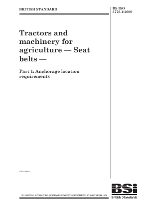 Seat Belts - Anchorage Location - Agricultural Tractors and Machinery.
