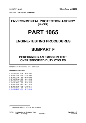 Engine Testing Procedures - Performing an Emission Test Over Specified Duty Cycles.