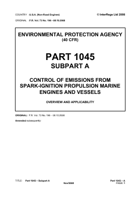 Control of Emissions from Spark-ignition Propulsion Marine Engines and Vessels - Overview and Applicability.