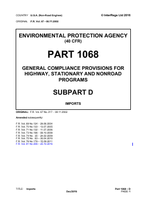 General Compliance Provisions for Highway, Stationary and Non-road Programs - Imports.
