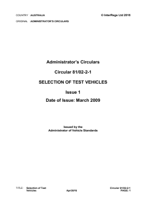 Selection of Test Vehicles.