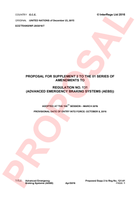 Advanced Emergency Braking Systems. Proposed Supplement 2 to the 01 Series.