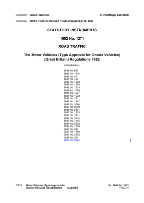 Motor Vehicles (Type Approval for Goods Vehicles) (Great Britain) Regulations 1982.