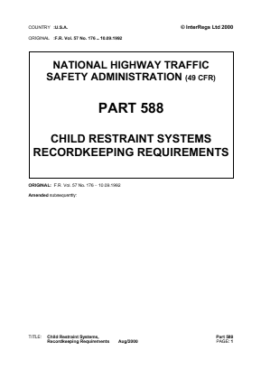 Record-Keeping Requirements for Child Restraint Systems - FMVSS 213.