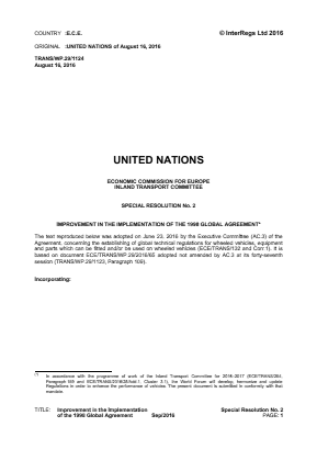 Improvement in the Implementation of the 1998 Global Agreement (SR2).