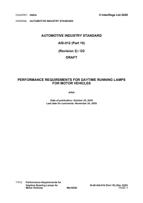 Performance Requirements for Daytime Running Lamps for Motor Vehicles.
