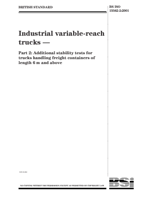 Industrial Variable-Reach Trucks - Part 2 : Additional Stability Tests for Freight Container Handling Trucks.