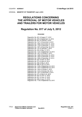 Approval of Motor Vehicles and Trailers for Motor Vehicles.