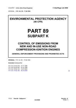 Control of Emissions from New and In-use Non-road Compression-ignition Engines - General Enforcement Provisions and Prohibited Acts.