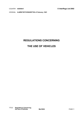 Use of Vehicles Regulations (Extracts).
