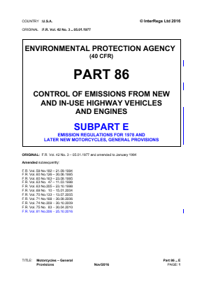 Motorcycle Emissions - General Provisions - 1978 and Later.