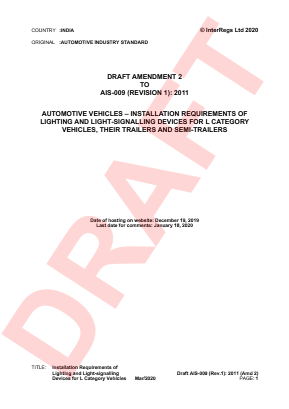 Installation Requirements of Lighting and Light-signalling Devices for L Category Vehicles.