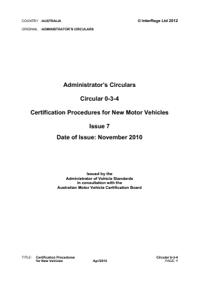 Certification Procedures for New Vehicles.
