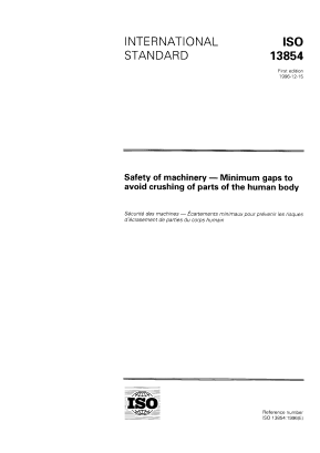 Safety of Machinery - Minimum Gaps to Avoid Crushing of Parts of the Human Body.