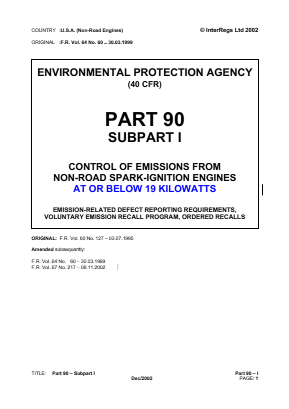 Control of Emissions from Non-road Spark-ignition Engines at or below 19kW - Emission Related Defect Reporting Requirements, Voluntary Emission Recall Program, Ordered Recalls.