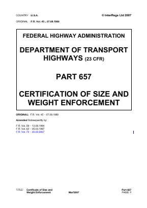 Certification of Size and Weight Enforcement.