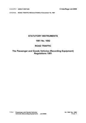 Passenger and Goods Vehicles (Recording Equipment) Regulations 1981 - Reference EC Directives and Regulations.