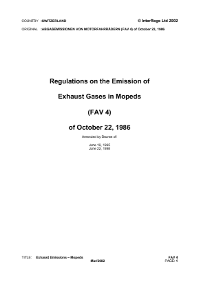 Emission of Exhaust Gases from Mopeds.