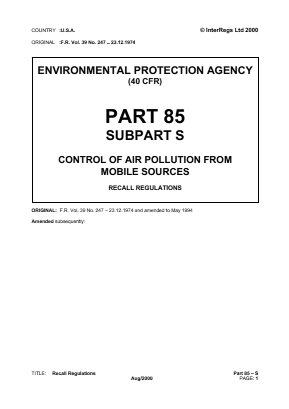 Control of Air Pollution from Mobile Sources - Recall Regulations.