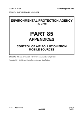 Control of Air Pollution from Mobile Sources - Appendices.