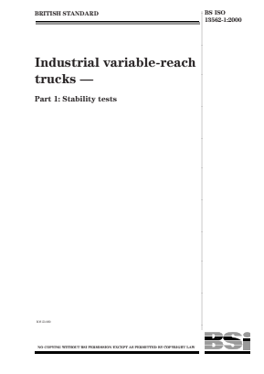 Industrial Variable-Reach Trucks - Part 1: Stability Tests.