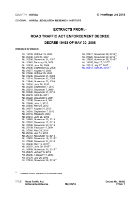 Road Traffic Act - Enforcement Decree (Extracts).